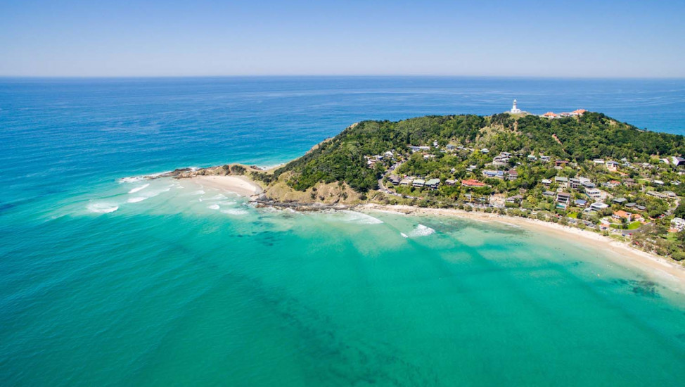 byron bay from above
