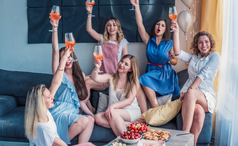 group of girls with cocktail