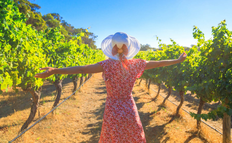 girl in pink in vineyard