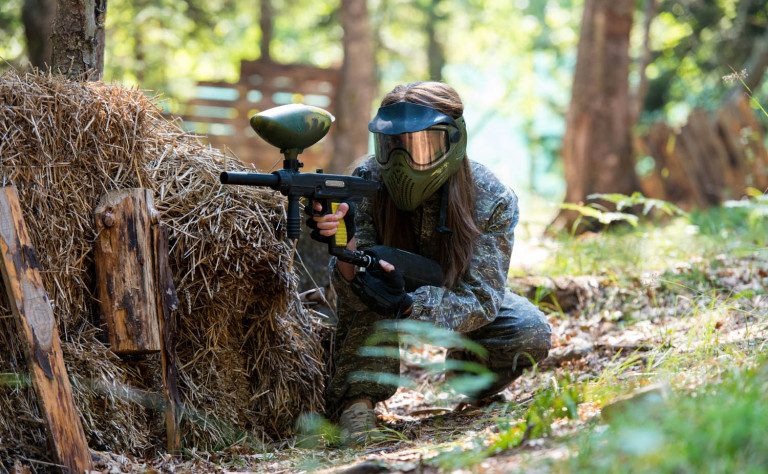 paintball girl hiding